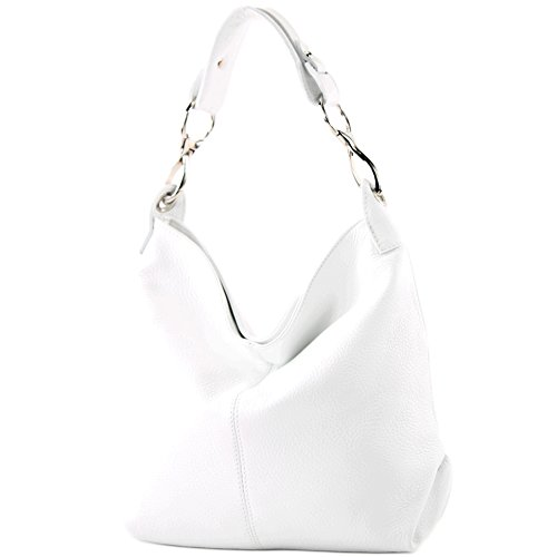 modamoda de - T168 - ital Schulter-/Umhängetasche aus Leder, Farbe:Weiß