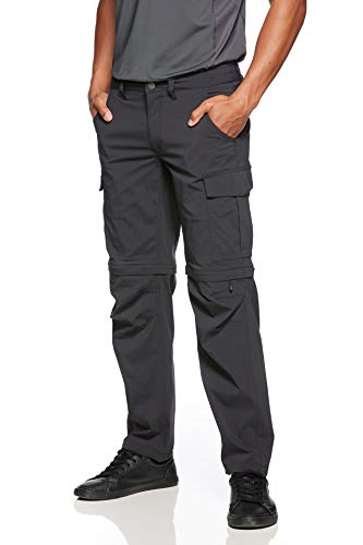 Jeff Green Herren Leichte Elastische Schnell Trocknende Outdoor Trekking Zip Off Funktions Hose Phill, Größe - Herren:XL, Farbe:Black