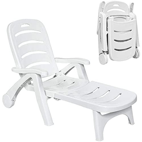 YERT Sedia a Sdraio Pieghevole reclinabile, Sedile per Patio da Giardino, Sedia a Sdraio per Divano a Bordo Piscina da Cortile all'aperto, mobili per Sedile Regolabile (1,Bianco)