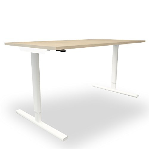 Elektrisch höhenverstellbar Schreibtisch EASY Ergonomisch Motortisch LINAK, Gestellfarbe:Weiß, Melamin-Farbe:Ahorn, Größe:1600 x 800. H=740 mm