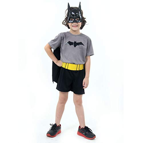 Sulamericana Fantasias Batman Curto Infantil, G 10/12 Anos, Cinza/Preto