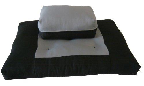 D&D Futon Furniture Black/Gray Zabuton Zafu Set, Yoga, Meditation Seat Cushions, Kneeling, Sitting, Supporting Exercise Pratice Zabuton & Zafu Cushions.