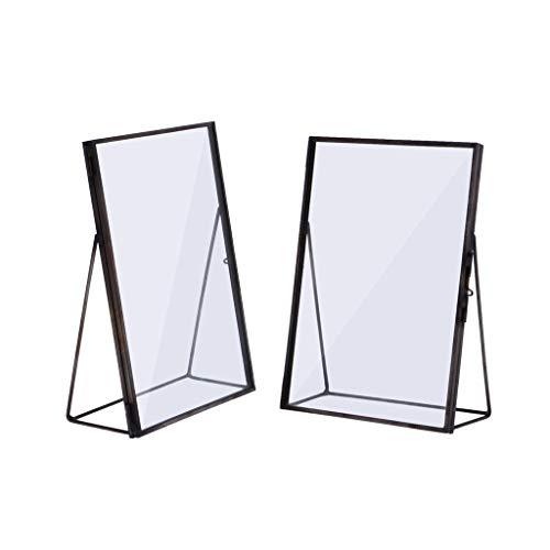 PETSOLA 2er Schwarz Glas Metall Bilderrahmen Geschenk 15x20cm + 10x15cm