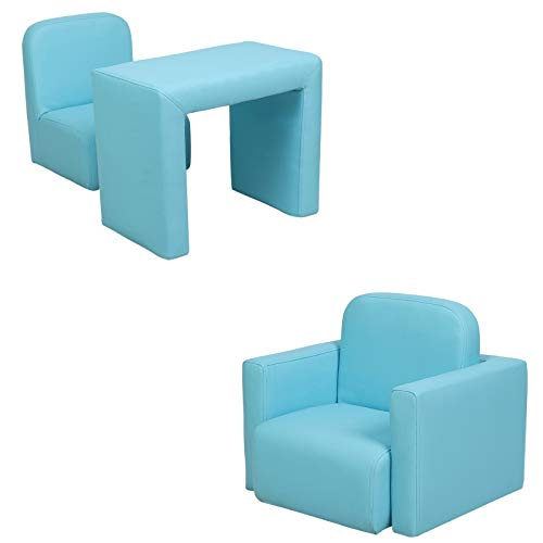 Blue Childrens Kids Mini Sofa 2 In 1 Table Chair Set Armchair High Resilience Sponge PVC Solid Wood Frame for Kids Bedroom Game Playroom Girls Boys Gift (Blue)