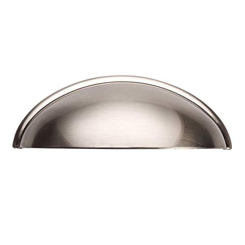 Alzassbg AL3031SN Brushed Satin Nickel, 3 Inch(76mm) Hole Centers Cabinet Hardware Bin Cup Drawer Handles Pulls 10 Pack