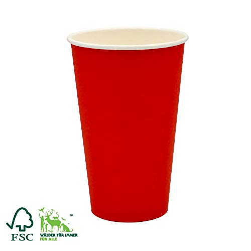 Pack&Cup Bio Kaffeebecher Pappbecher Coffee to Go Einwegbecher Red 400 ml (16 OZ) 50 Stück