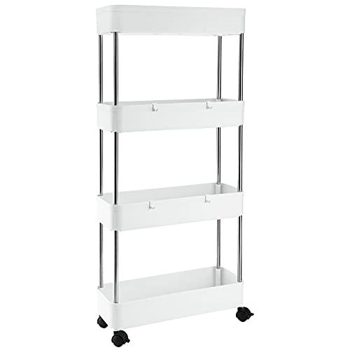 Tosnail Estante de almacenamiento delgado de 4 niveles para carrito de almacenamiento, para cocina, baño, lavandería, lugares estrechos, plástico y acero inoxidable, color blanco