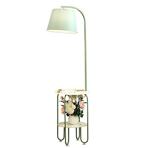 Metal Floor Lamp met Creative Storage salontafel nachtkastje en laadstation en 2 USB-poorten stoffen kap for Office en Reading Light (Color : Green)
