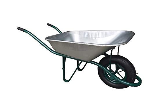 TAP 0000820 Brouette Manuelle en acier Galvanisé, avec roue gonflable, 1430 mm x 515 mm x 527 mm, Charge 130 kg