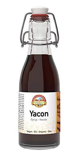 Bio Yacon Sirup 200ml wiederverschließbare Glasflasche, Zuckeralternative, natürlicher Süßstoff aus dem Hochland von Peru