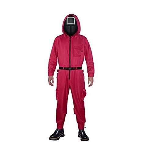 Yacriso Disfraz de Squid Game, Disfraz de Mono Rojo de Squid Game, Traje de Calamar de Hombre Enmascarado, Mono Rojo, Disfraz de Round Six (Máscara, Mono, cinturón y Guantes? (S,Square Jumpsuit)