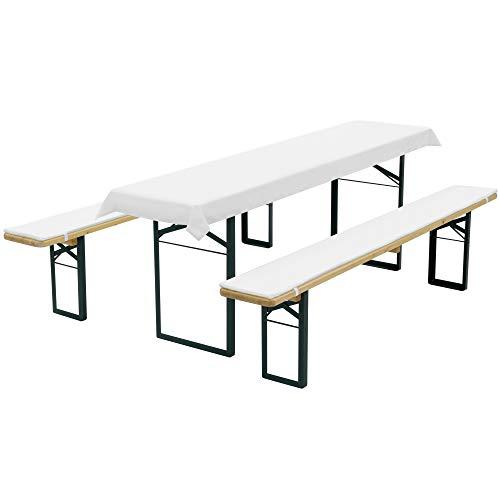 DILUMA Bierbankauflagen Set Weiß - Tischdecke für 70cm Tisch und 2 Bankauflagen 220x25cm gepolstert - Auflagen Set für alle gängigen Bierzeltgarnituren