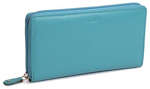 SADDLER Billetera Continental de 19cm para Mujeres - Verde Azulado