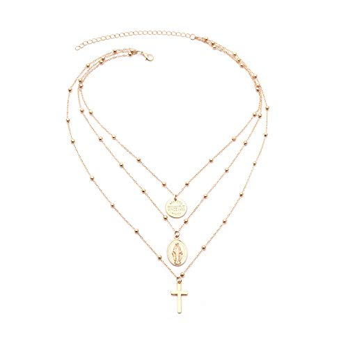 Best Price! GOTDCO. Grandeur Multilayered Lady Women Sweater Necklace with Cross & Virgin Mary Penda...