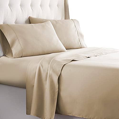 HC Collection Queen Bed Sheets Set - Bedding Sheets & Pillowcases w/ 16 inch Deep Pockets - Fade Resistant & Machine Washable - 4 Piece 1800 Series Queen Size Sheet Sets – Taupe