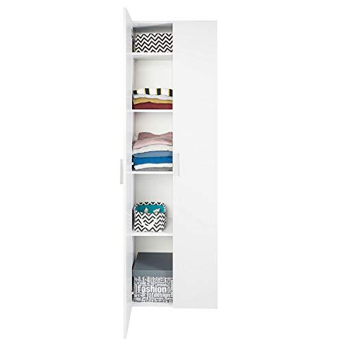 COSTWAY Bücherschrank mit Türen Mehrzweckschrank Standregal Schrank Bücherregal mit 2 verstellbaren Regalböden für Schlafzimmer, Wohnzimmer 60x32x192cm