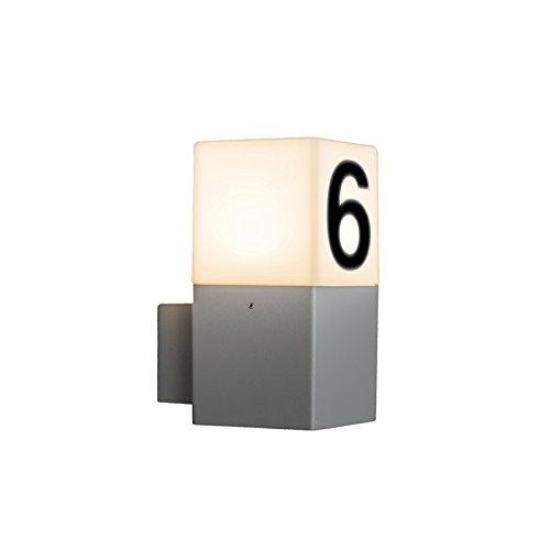 QAZQA Modern Buitenwandlamp met huisnummer - Denmark Aluminium/Kunststof Kubus/Vierkant/Rechthoekig/Langwerpig Geschikt voor LED Max. 1 x 13 Watt