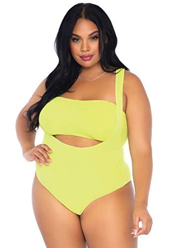 Leg Avenue Women's Plus Size 2 PC Bandeau Top and Bodysuit Set, Neon Yellow, 1X-2X