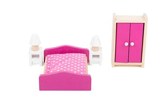 Small Foot 10874 Puppenmöbel aus hochwertigem Vollholz für das Wohnzimmer im Puppenhaus Spielzeug