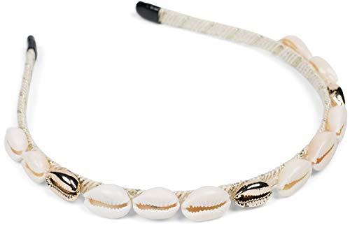 styleBREAKER Damen Haarreif schmal mit Muscheln besetzt, Maritim Haarband, Headband 04027012, Farbe:Beige-Gold