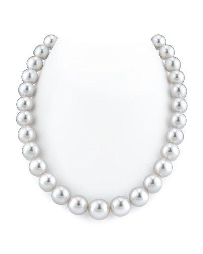 Collana di perle coltivate bianche del mare australiano del sud, 12-14 mm, qualità AAA.