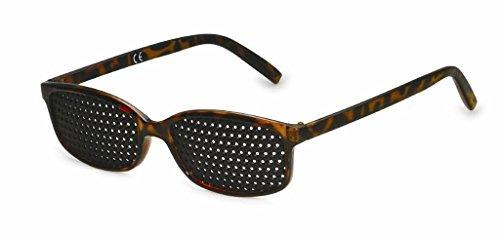 Gafas estenopeicas 415-IMG, gafas reticulares, rejilla de superficie completa con agujeros redondos, color marrón jaspeado, incl. accesorios