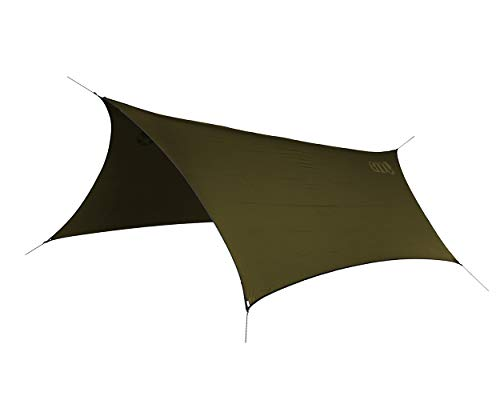 ENO Profly Rain Tarp Olive 70 Denier Rip Stop Nylon 1000 mm Pu Coating Six Point Guy System Double Stitched And Taped Seams Line Loc Guy Tensioners Weight 680 g Protection From The Elements