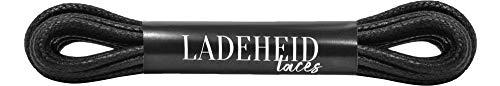 Ladeheid Qualitäts-Schnürsenkel Gewachst LAMTW05, Rundsenkel für Business-, Anzug- und Lederschuhe, ø 3 mm, Längen 40-130 cm (Schwarz, 60 cm/ø 3 mm)