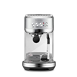 Breville the Bambino Plus Espresso Machine, One Size, Brushed Stainless Steel 1 The Breville Bambino Plus delivers third wave specialty coffee at home using the 4 keys formula and is part of the Bambino Series that offers the faster way to professional results at home in a compact footprint: serious espresso, serious value Dose Control Grinding: Achieve a consistent and balanced espresso using the right amount of ground coffee; The 54mm porta-filter with 19 grams is the key for full flavor and cafe quality coffee Optimal Water Pressure: Low pressure pre-infusion gradually increases pressure at the start and helps ensure all the flavors are drawn out evenly during the extraction for a balanced tasting cup