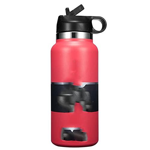 2021 Nuevo frasco de botella de agua de 32 oz / 40 oz - Botellas de agua 2.0 de boca ancha aisladas al vacío y de acero inoxidable con tapa de paja - Estados Unidos, 32 oz, rosa
