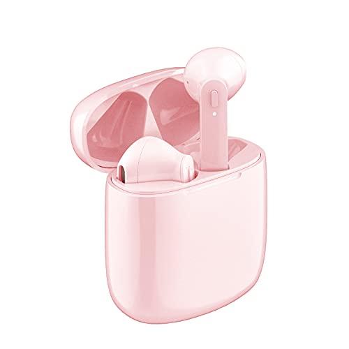 Bluetooth Kopfhörer In Ear,Kabellose Bluetooth 5.0 Kopfhörer In Ear TWS Wireless Kopfhörer 30-Stunden Spielzeit Wasserdicht Sport Kopfhörer Eingebautes Mikrofon mit Ladekoffer (Rosa)