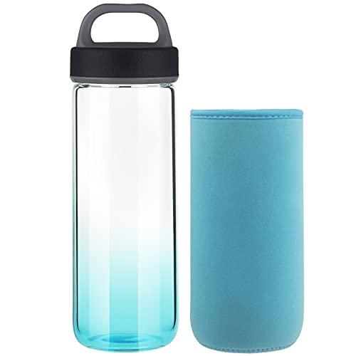 Life4u Botella de Agua de Cristal de Borosilicato Botella de Agua de Vidrio Sin BPA 750 ml (Azul)
