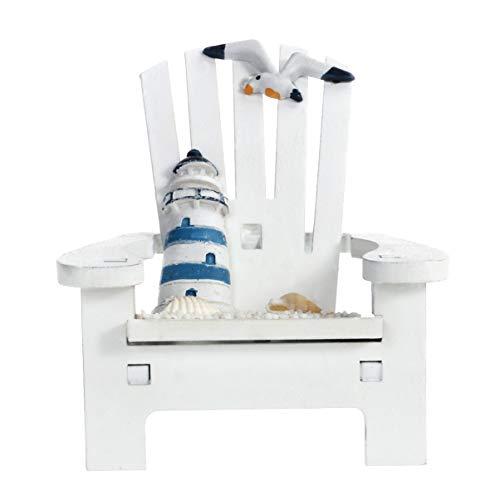 Winomo Handgefertigter Leuchtturm auf Stuhl, Dekoration, Ornament, klein