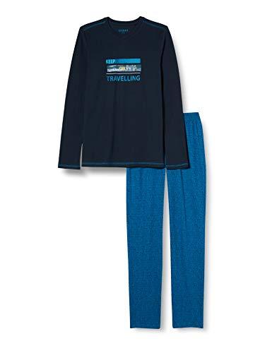 Schiesser Jungen Schlafanzug lang Pyjamaset, Nachtblau, 164