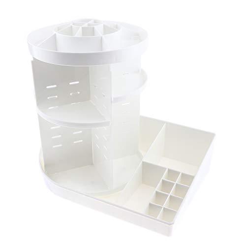 Fenteer Organiseur de Maquillage Cosmétique Support de Stockage Tournant à 360° Etagère Rangement pour Cosmétiques 36 x 24 x 35 cm - Blanc