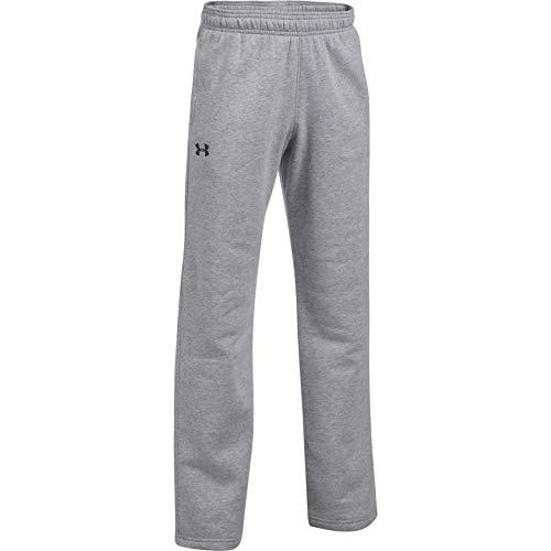 Under Armour Boys' Hustle Fleece Pants , True Gray Heather (025)/Black , Youth Medium