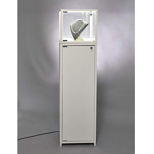 MHN beleuchtete verschließbare Haubenvitrine Glas mit weißem Sockel mit Staufach 32 x 32 x 133 cm