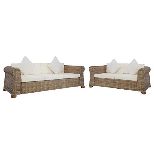 Tidyard Sofa Jardin Exterior Juego de sofás con Cojines 2 Piezas de ratán Natural