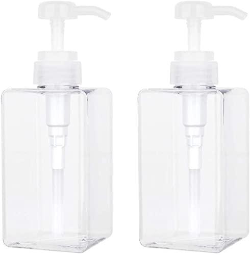 Botella de viaje cuadrada de plástico PET transparente, 500 ml, dispensador de jabón, dispensador de lociones, accesorios de baño, 2 bombas de loción