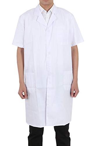 Pinkpum Lab Coat Professional Uniforms, Unisex White (Short-White, L)