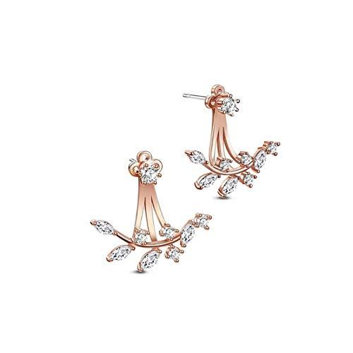 LDH Cubic Zirconia Stud Earrings Back Hanging Earrings Dual-use Fashion and Elegance Earrings for Girls