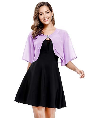 Women's Short Sleeve Open Front Soft Chiffon Shrug Cardigan for Evening Dresses (Lavender, 2XL-3XL)