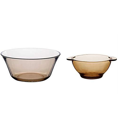 ZLSP Templado de vidrio marrón cubiertos conjunto, ensalada de Inicio del cuenco de fruta y placa plato ZLSP