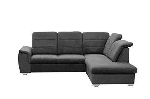 Ecksofa 261 x 203 grau beige anthrazit blau Blue Sofa mit Schlaffunktion L Form Couch Big Sofa XXL modern Wellenfedern Sofa für 4 Sitzer und mehr verstellbare Kopfteile (rechtsseitig, Dunkelgrau)