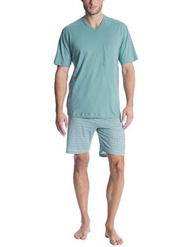 Calida Herren Relax Imprint 2 Zweiteiliger Schlafanzug, Blau (Smoke Blue 544), Medium