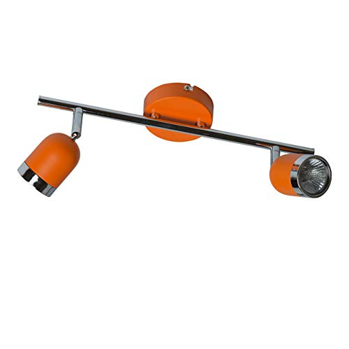 MW-Light 546021002 Moderner Wandspot Spotbalken 2 Flammig Oranges Metall Chrom Optik Drehbar 2 x 35W GU10
