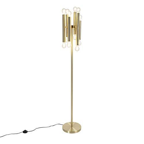 QAZQA Art Deco Vintage vloerlamp goud 12-lichts -Facil Staal Langwerpig Geschikt voor LED Max. 12 x 60 Watt