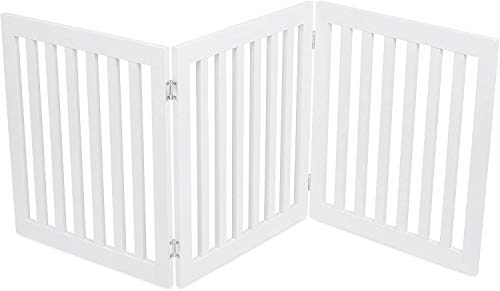 Internet's Best Traditional Dog Gate - 3 Panel - 24 Inch Step Over Fence - Free Standing Folding Z Shape Indoor Doorway Hall Stairs Pet Puppy Gate - White - MDF