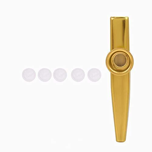 Alomejor Kazoo Color Aluminiumlegierung Kazoo Mundharmonika Musikalische Begleitung für Klavier Keyboard Gitarre Ukulele Violine(Gold)