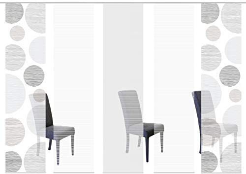 Vision S 95553 | 5er-Set Schiebegardinen Borden | halb-transparenter Stoff in Bambus-Optik | 5X 260x60 cm | Farbe: (grau)